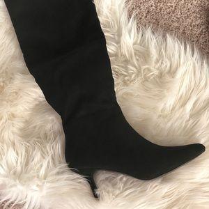 Faux Suede Black Boots